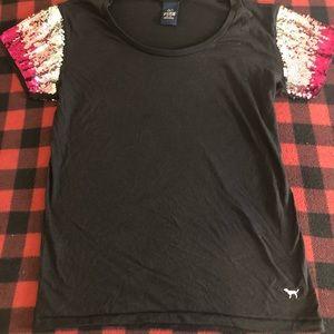 VS PINK Sequin Short Sleeve Shirt